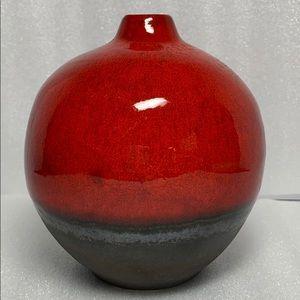 Crate&Barrel Red Brown Glazed Pottery Vase